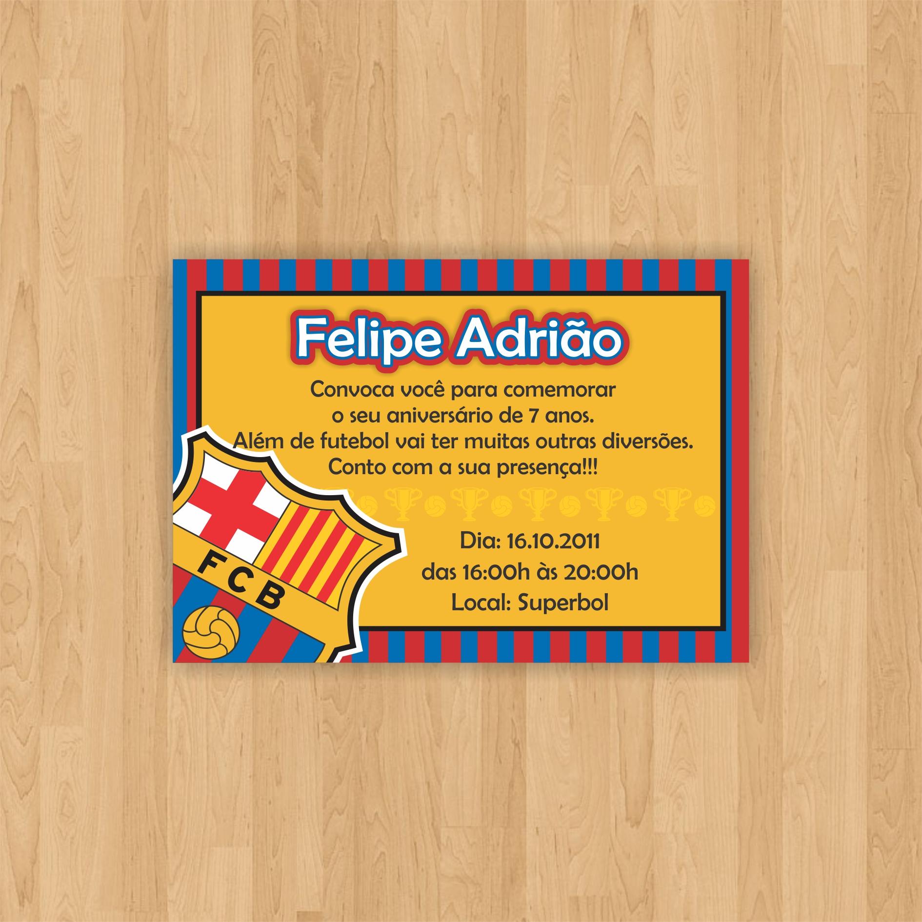 Convite Futebol Barcelona 10x7 No Elo7 Arca Dos Sonhos 5f1091