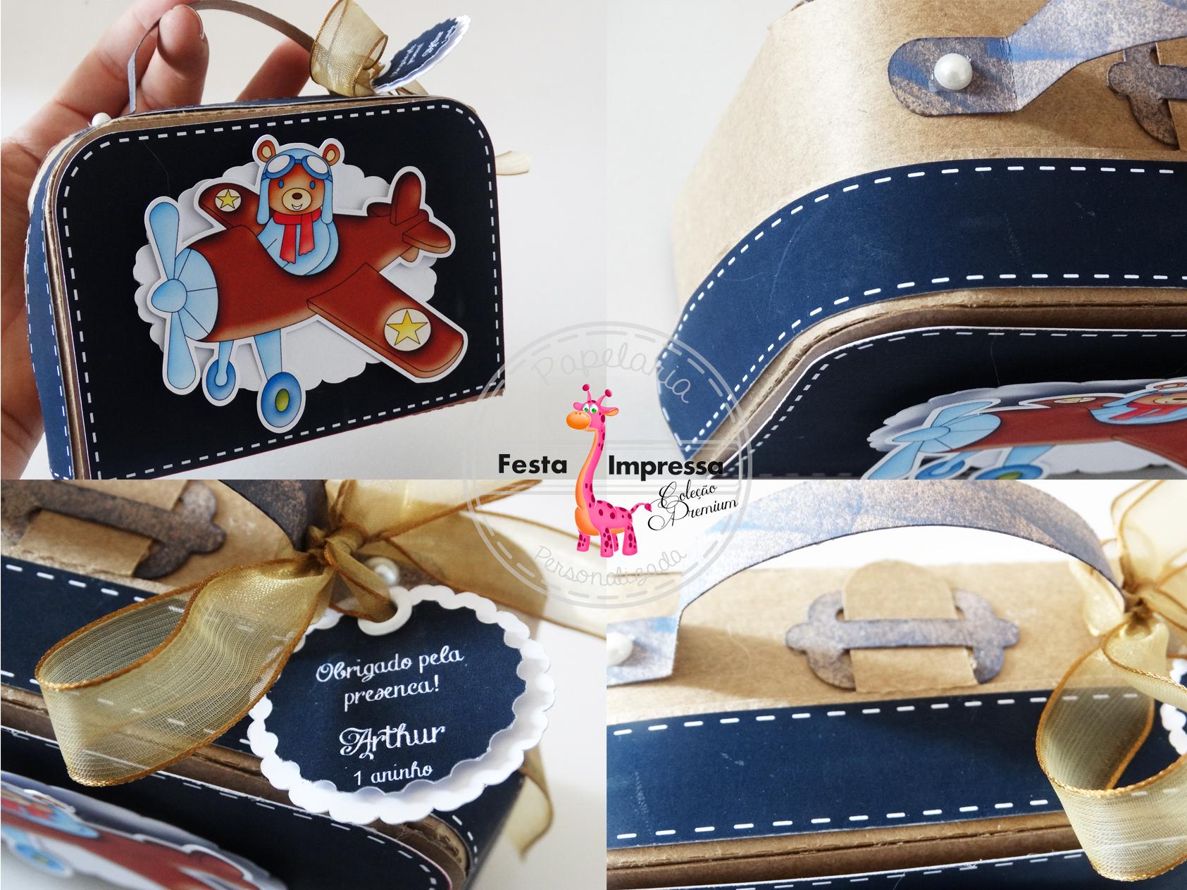 Maleta em papel personalizada no Elo7   Festa Impressa (5F2D93) da9bbc7049