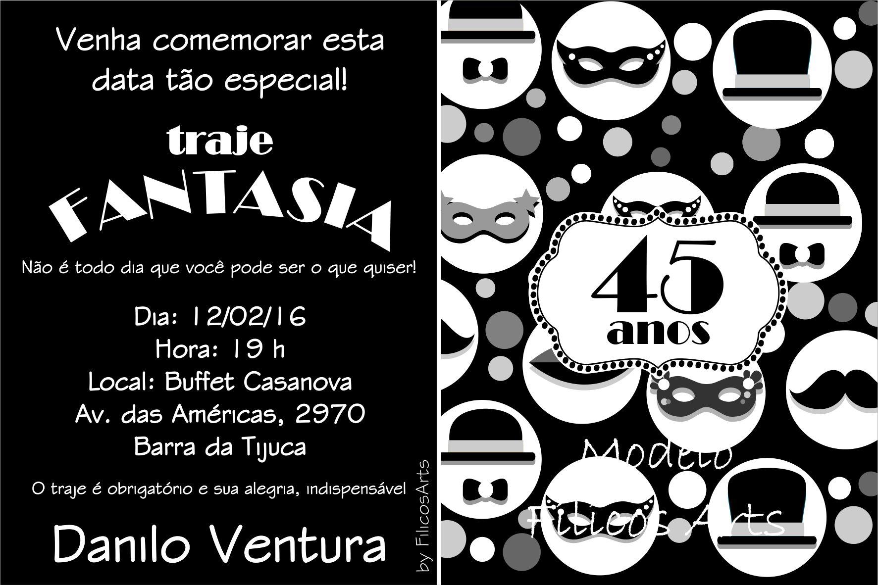 Convite Virtual Festa A Fantasia Elo7