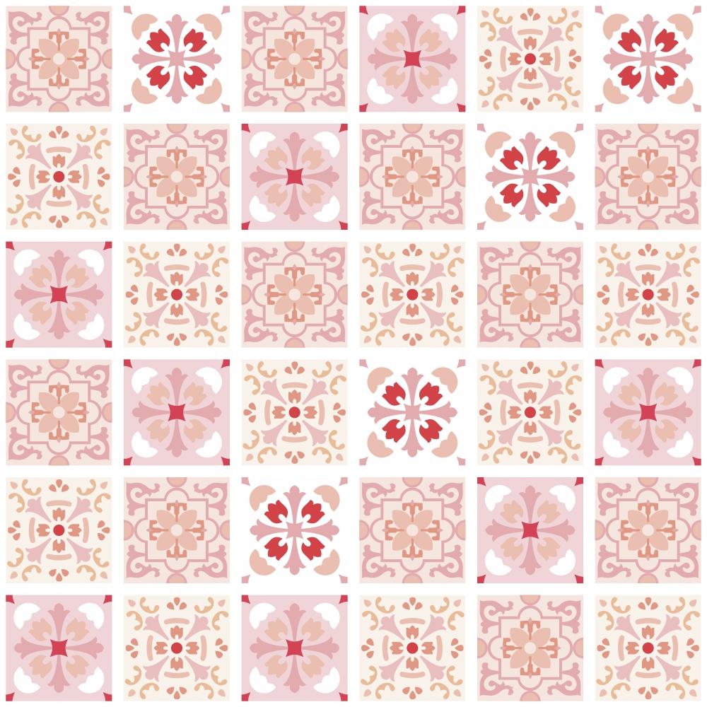 adesivo azulejo badalona rosa 10x10cm tacolado adesivos e decorao elo7 - Azulejos Rosa