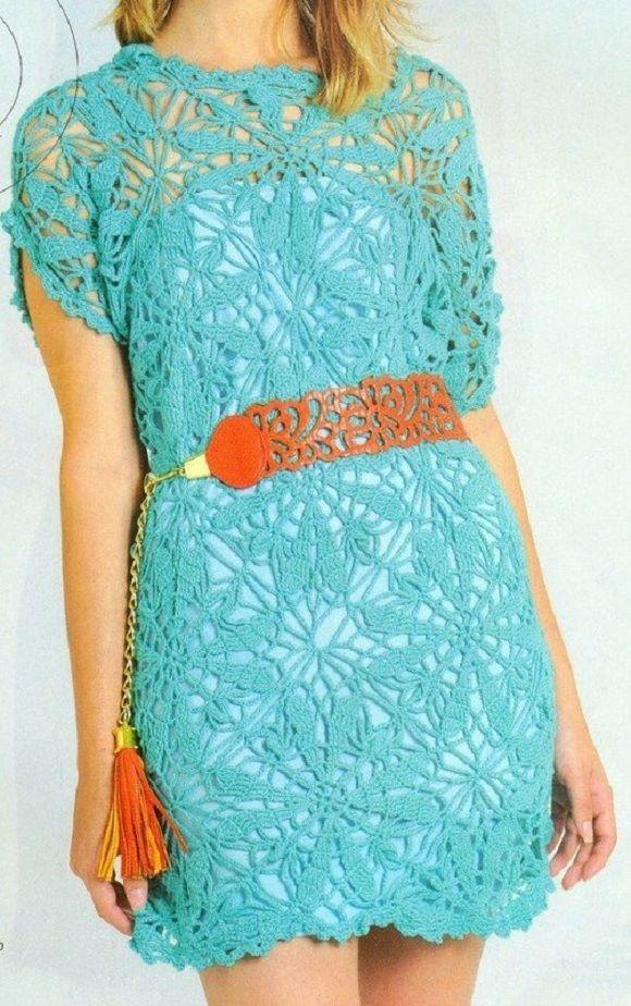 Vestido verde de croche