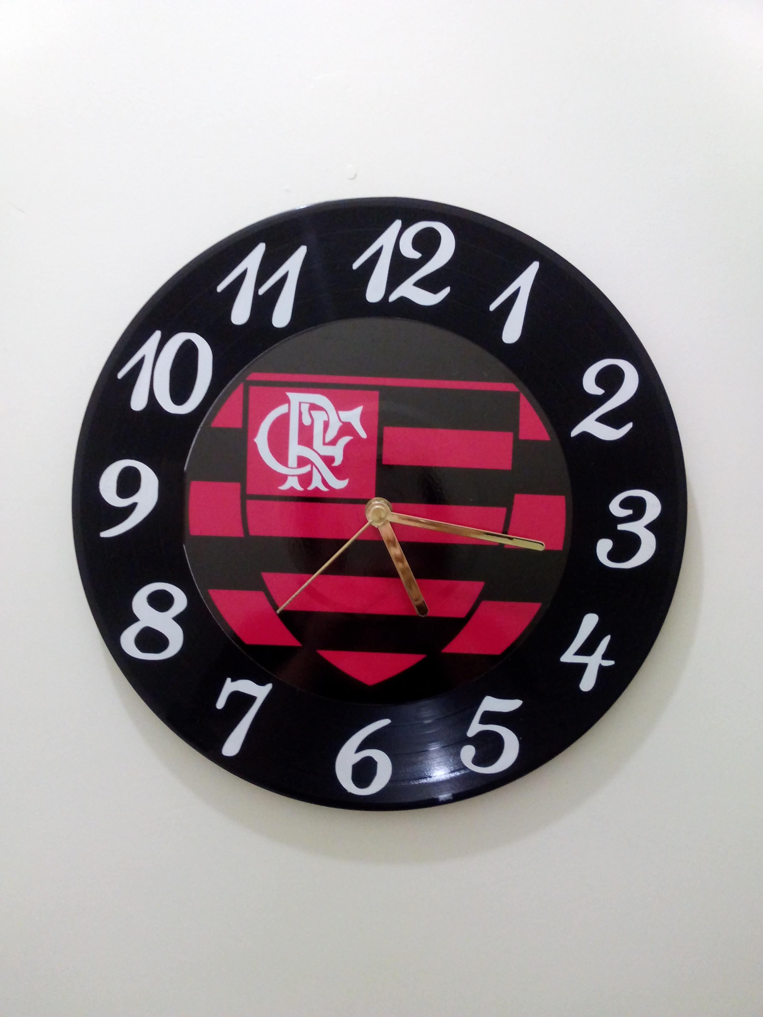 11aa5a4358ccc Relógio de Parede Flamengo no Elo7