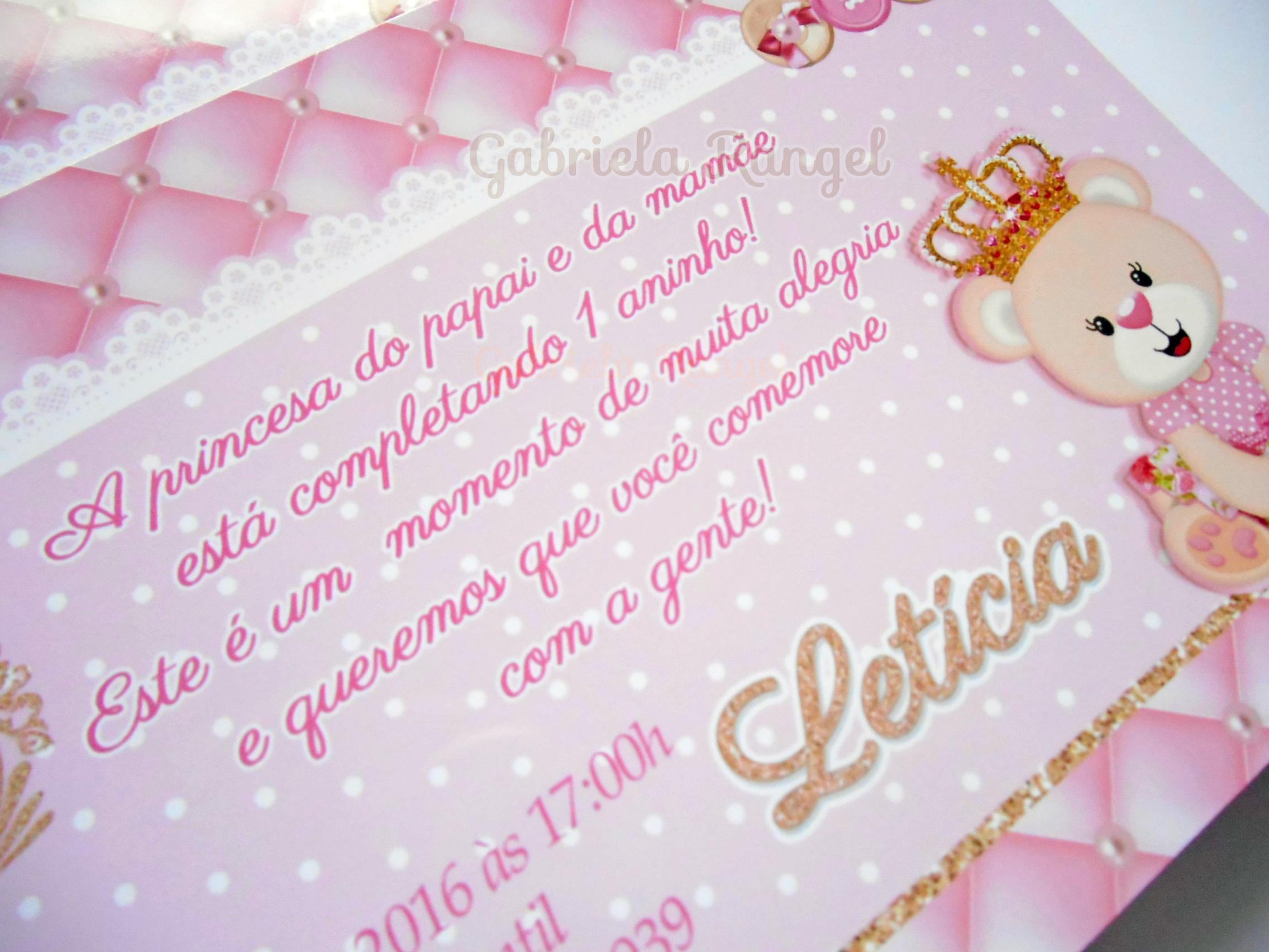 Convite Ursa Princesa No Elo7 Gabriela Rangel Papelaria