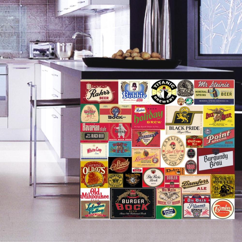 Adesivo Parede Cervejas Vintage 1x1m TaColado Adesivos e
