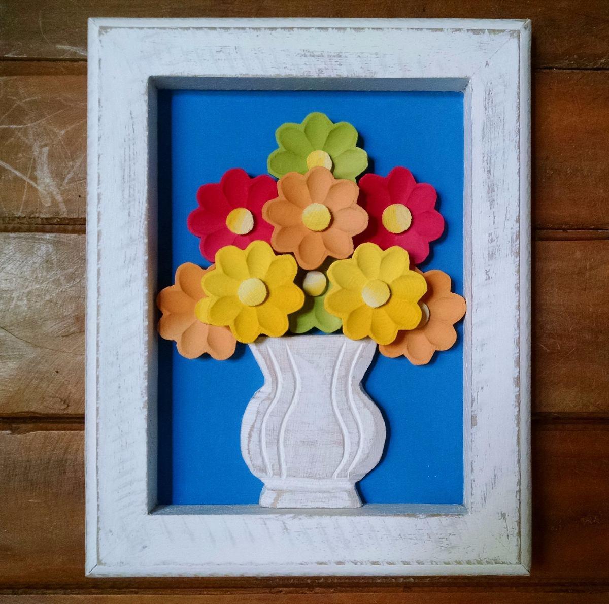 Artesanato Com Tecido De Chita ~ Quadro madeira com flores Tr u00eas Arcanjos Artesanato Elo7