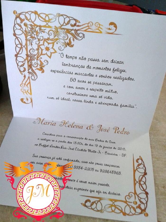 Convite Casamento Bodas De Ouro No Elo7 Ml Convites Personalizados