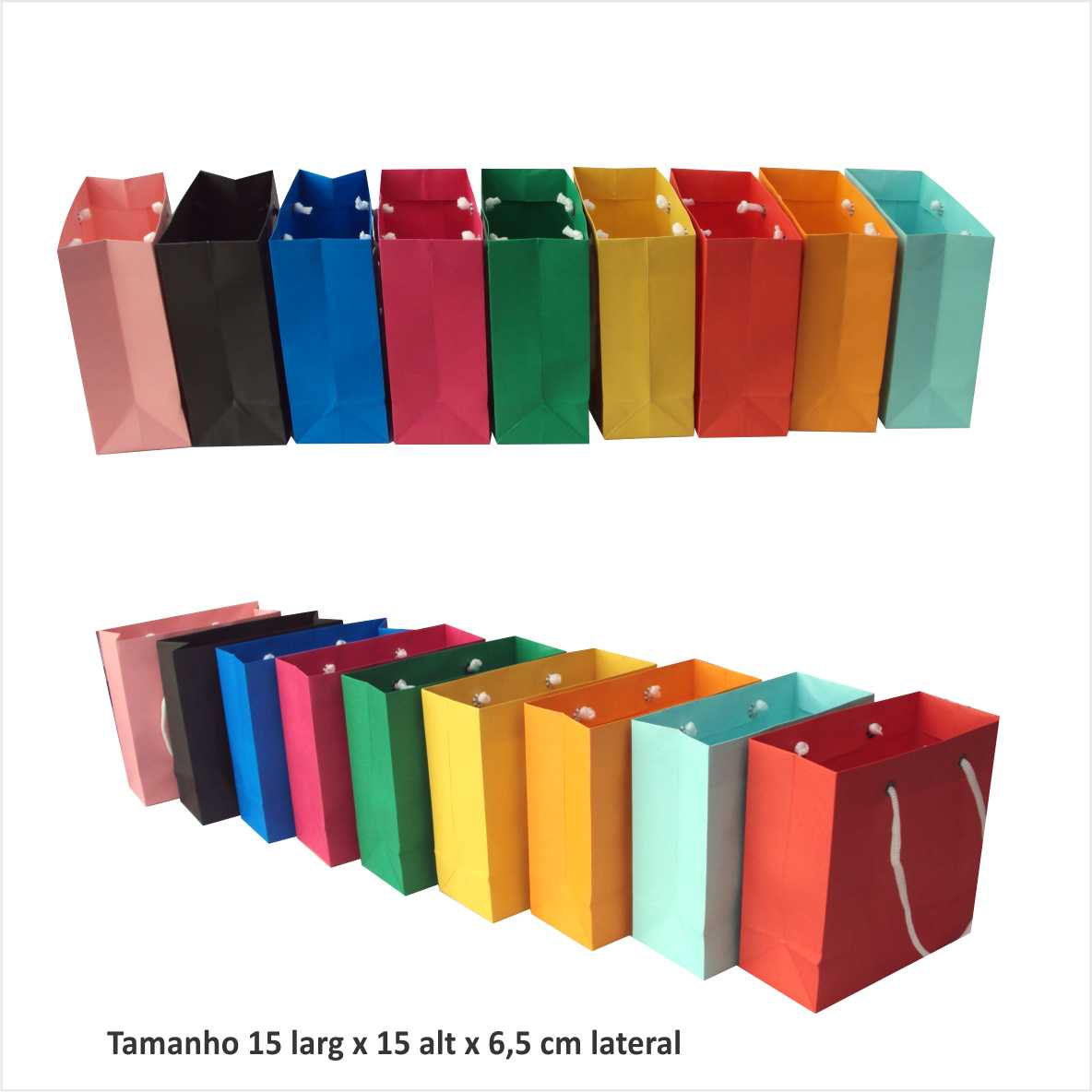 baeb821c2 sacolas de papel coloridas 15x15x6,5 cm no Elo7 | Artesanal Sacolas (367DD)