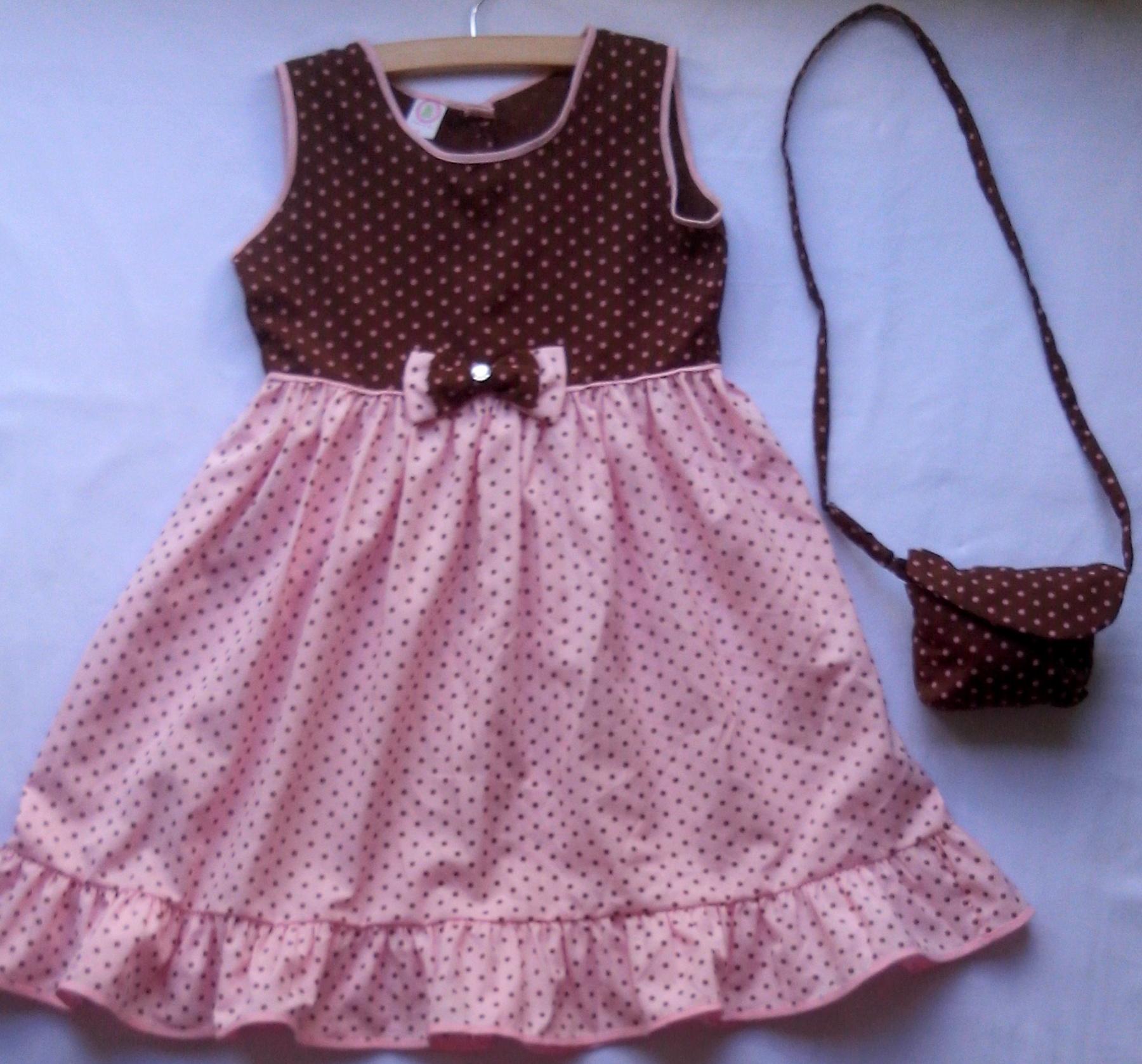 Vestido Infantil Bolinhas Marrom E Rosa