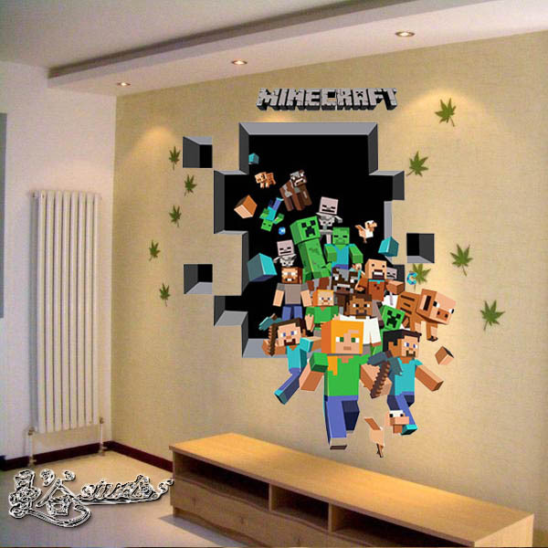 adesivo minecraft 3d grande adesivos e decora es aum elo7. Black Bedroom Furniture Sets. Home Design Ideas
