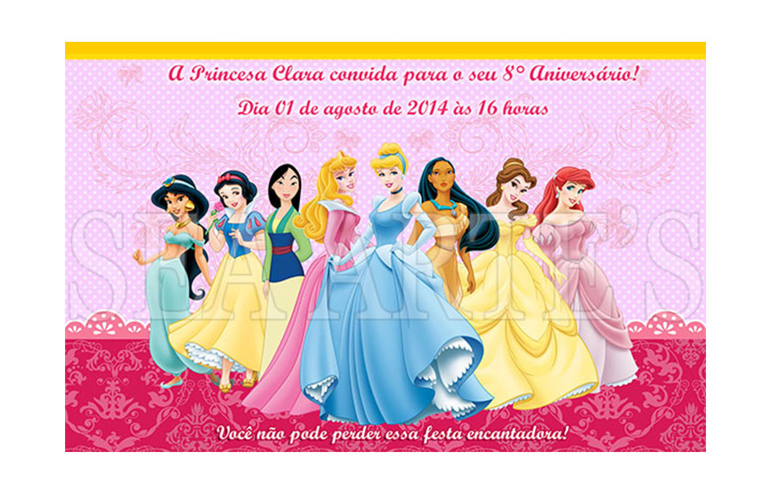 arte convite digital princesas disney no elo7 sea artes 47d57c