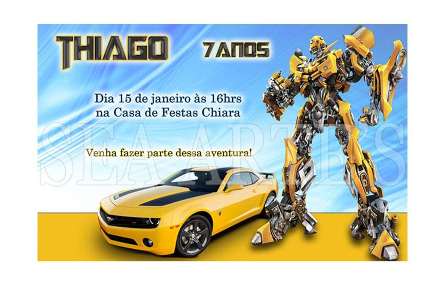 Arte Convite Digital Transformers Elo7