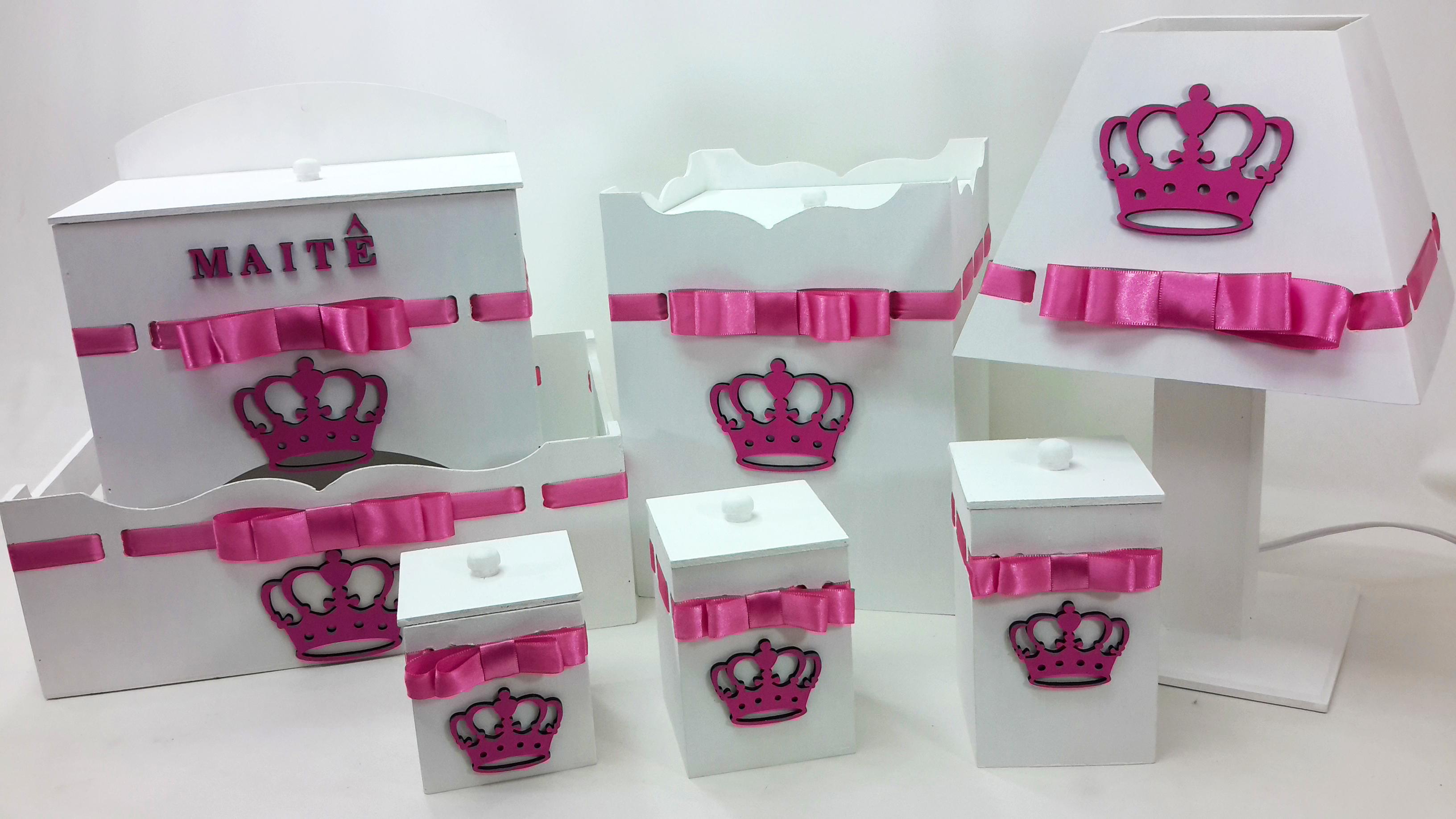Kit Higiene Beb u00ea em MDF EH Ateli u00ea Elo7 # Como Decorar Kit Higiene Bebe Com Tecido