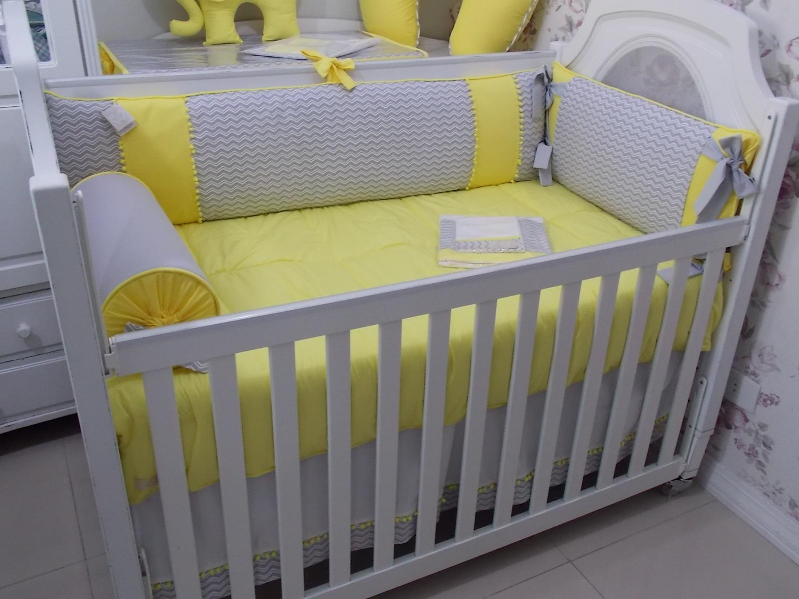 5781b83be Kit de Berço Amarelo e Cinza no Elo7