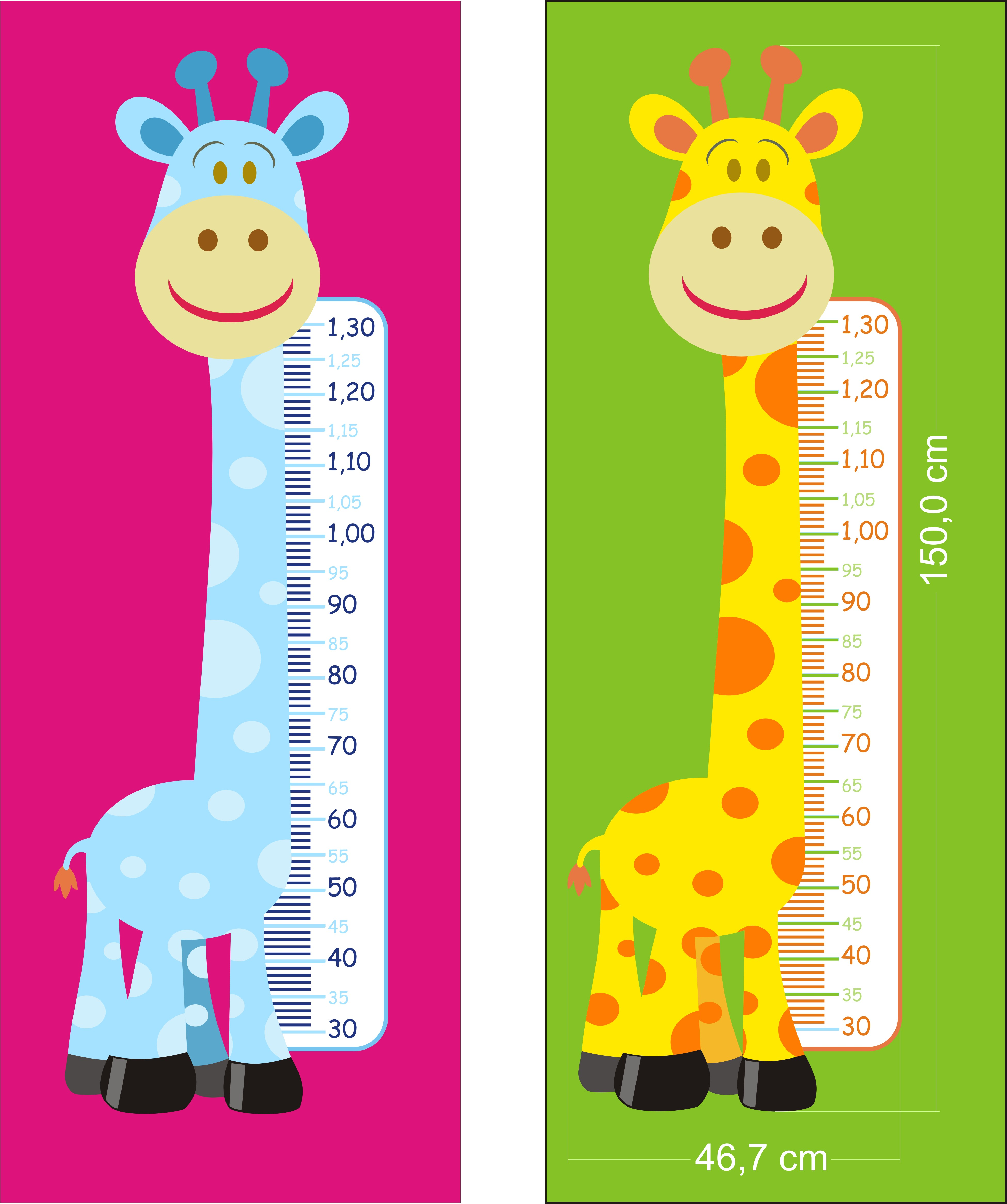Adesivo Girafa Colorida Régua