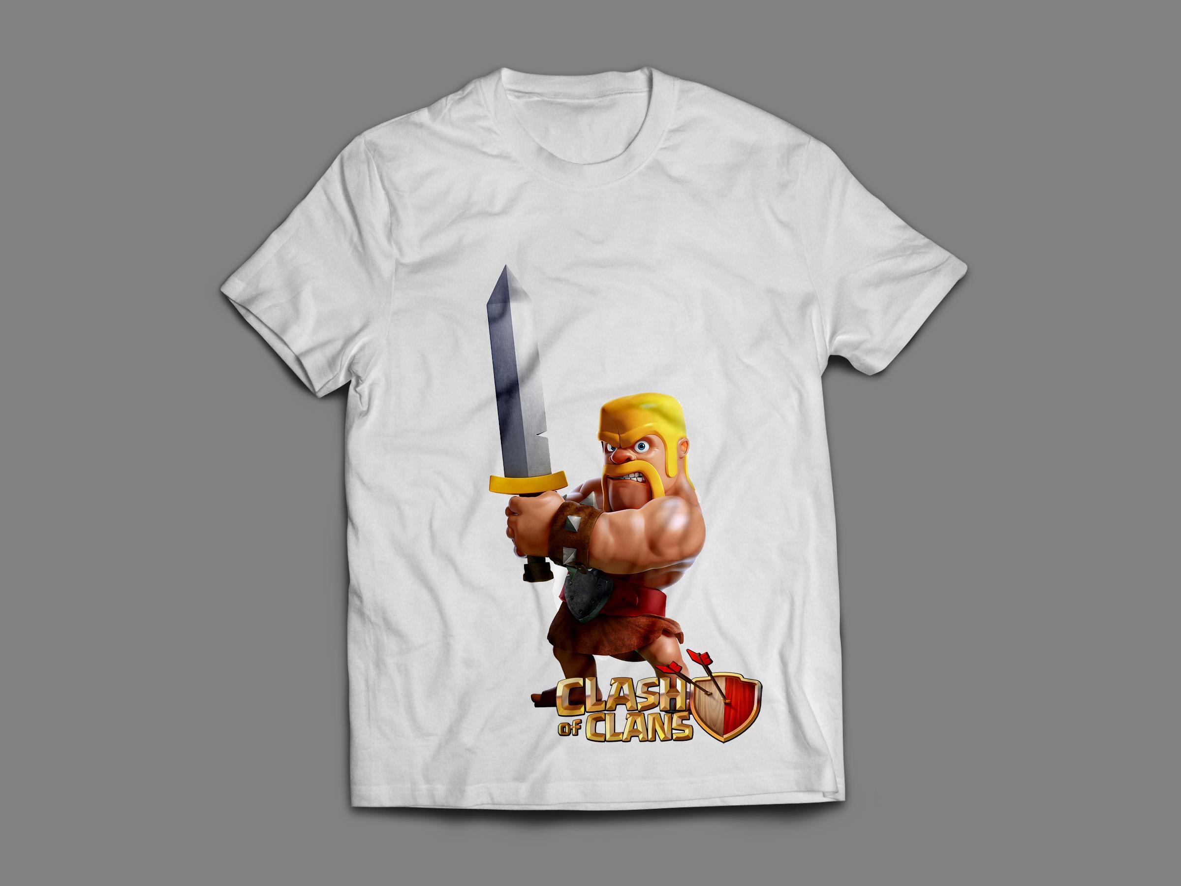 camisa clash of clans cabeça de barbaro elo7