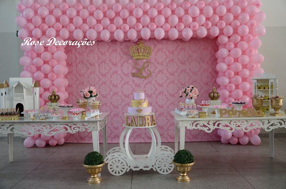 Decoraç u00e3o de festa Realeza Rose Decorações e lembrancinhas Elo7 -> Decoração De Festa Infantil Realeza Luxo