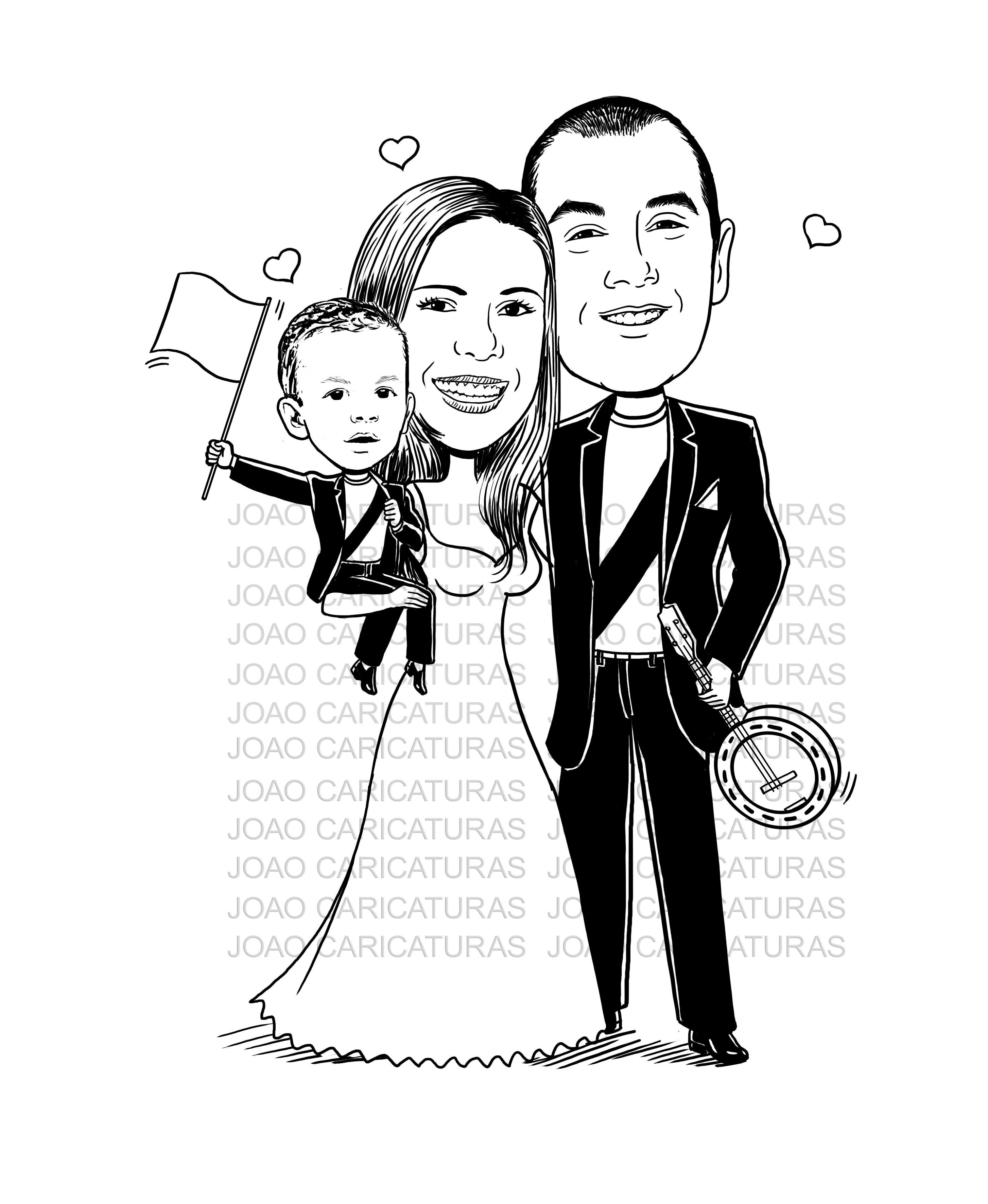 Linda Caricatura De Noivos Casamento Bebe Preto E Branco No Elo7