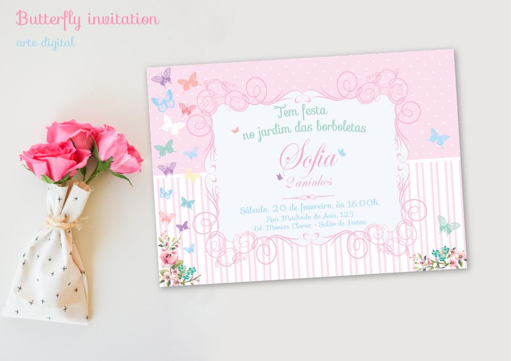 Convite Jardim De Borboletas Rosa Lilas Elo7