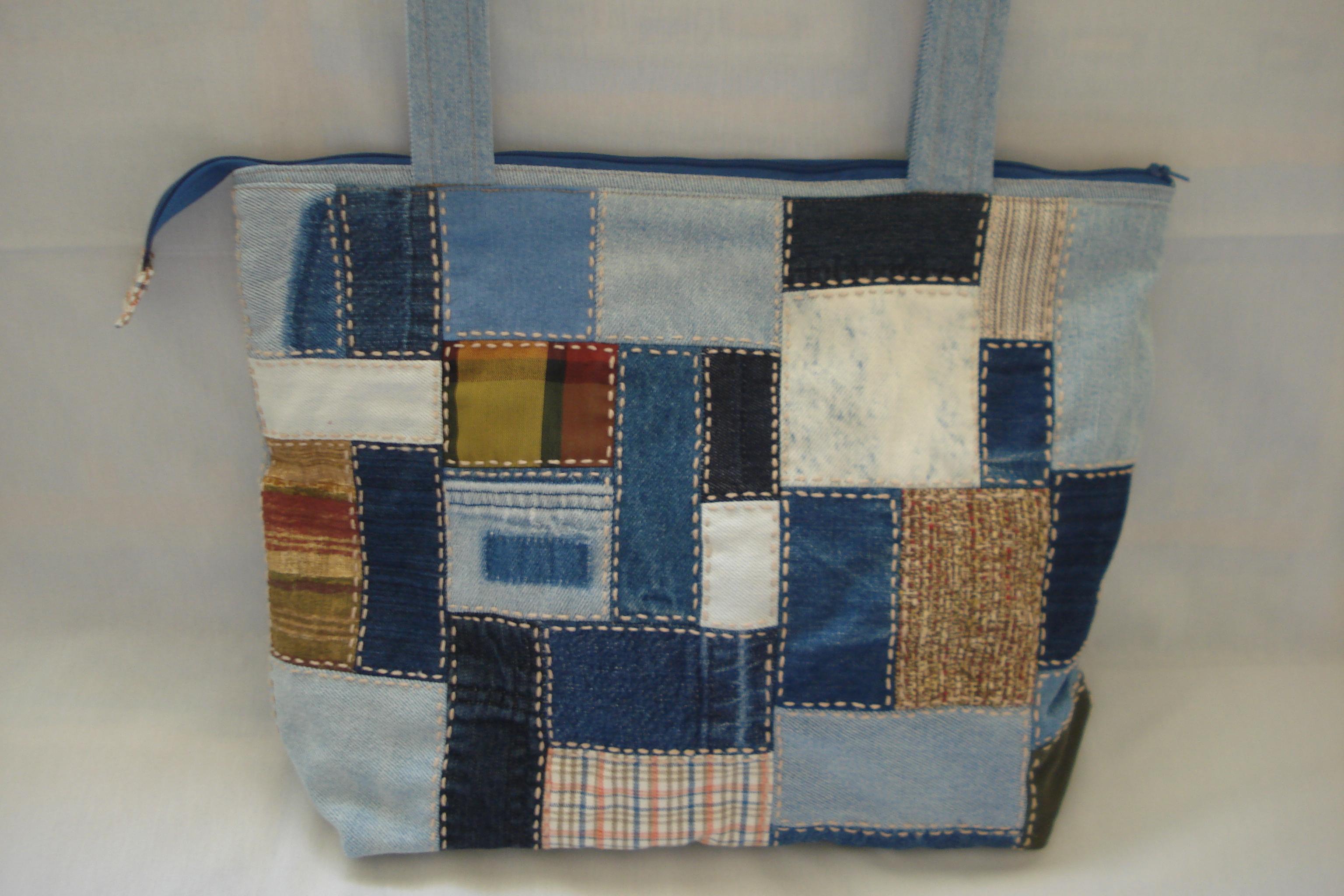 Bolsa De Tecido E Jeans : Bolsa jeans de retalhos asayuri artesanato elo