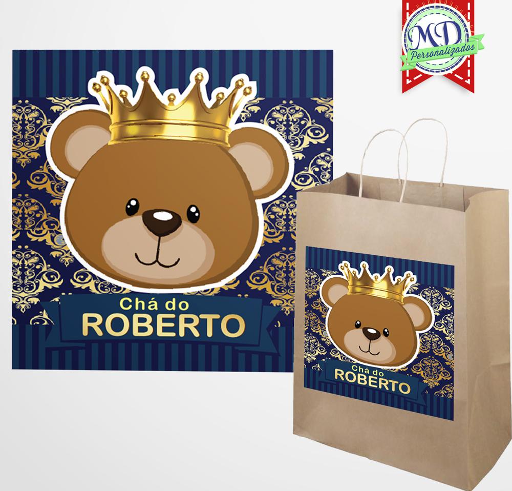 Armario De Cozinha Em Ingles ~ Adesivo Sacola Ursinho Príncipe Mundo dos Personalizados (MD) Elo7