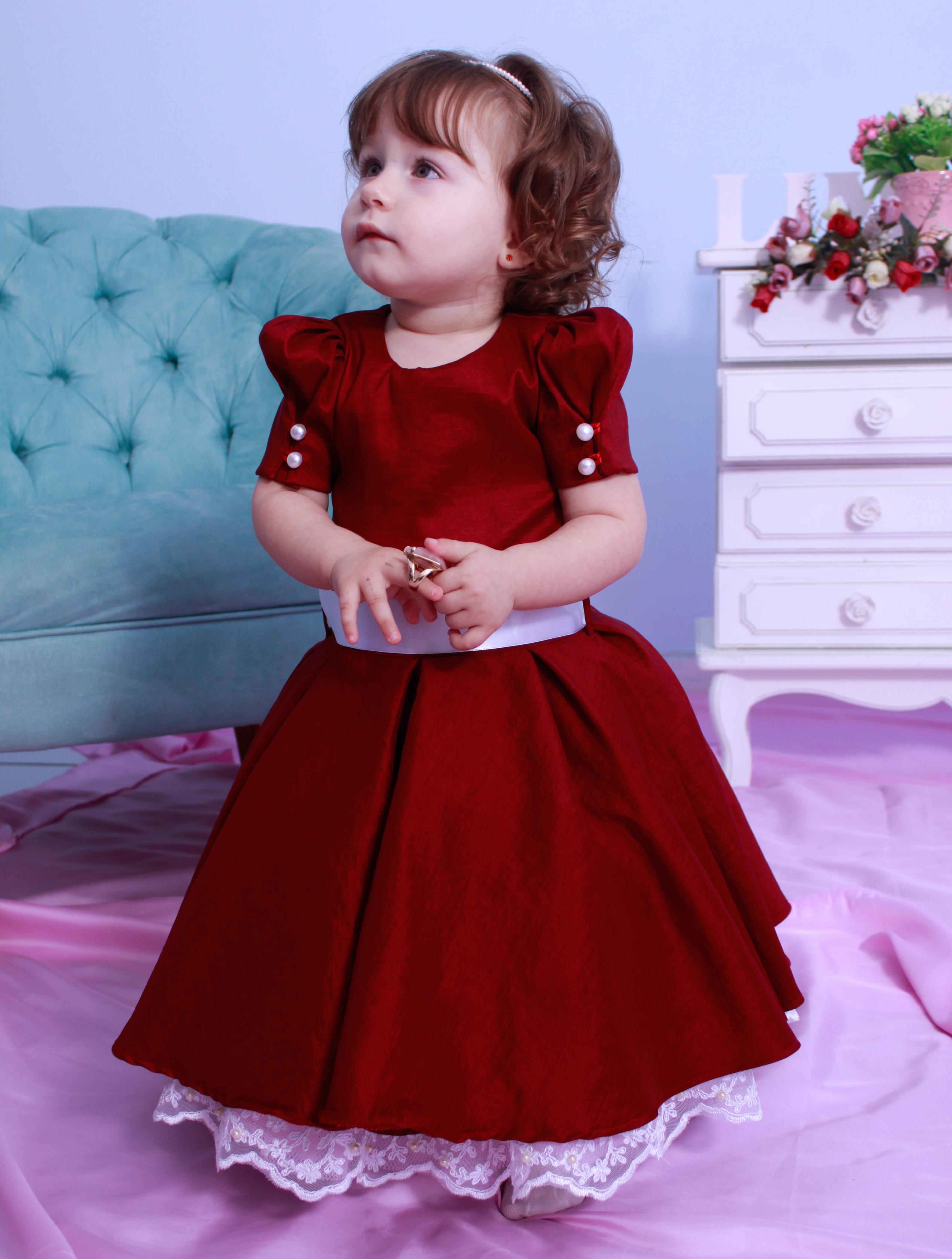 3de7fce7c3 Vestido de Festa Vinho - Infantil no Elo7