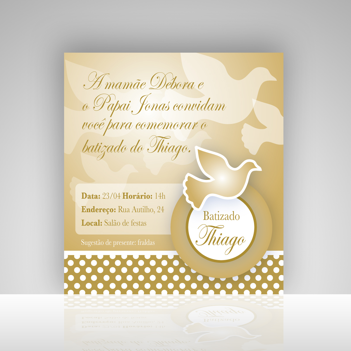 Convite Digital Batizado Boy Dourado No Elo7 Angeles Atelier 654083