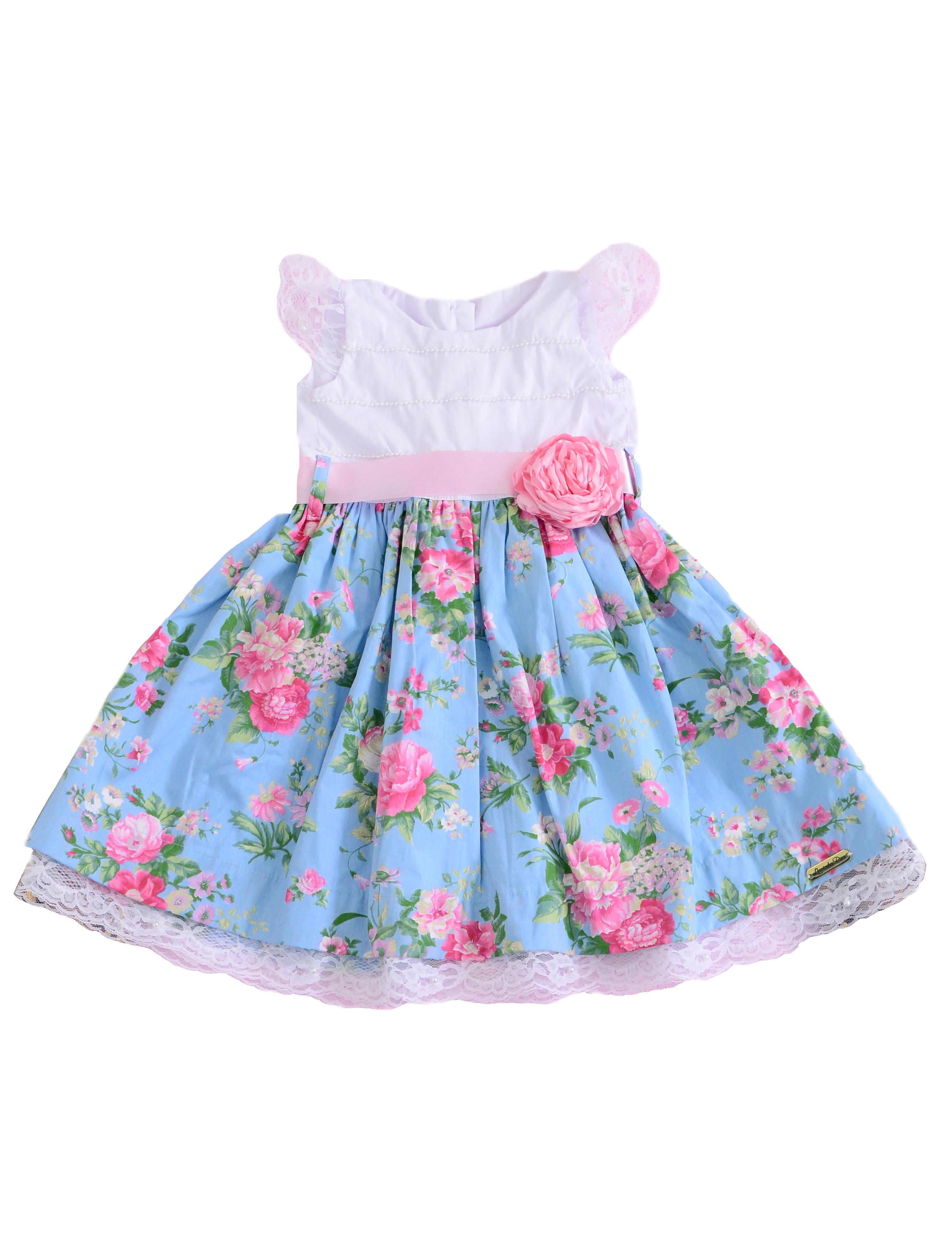 Vestido de festa liminha doce infantil azul royal