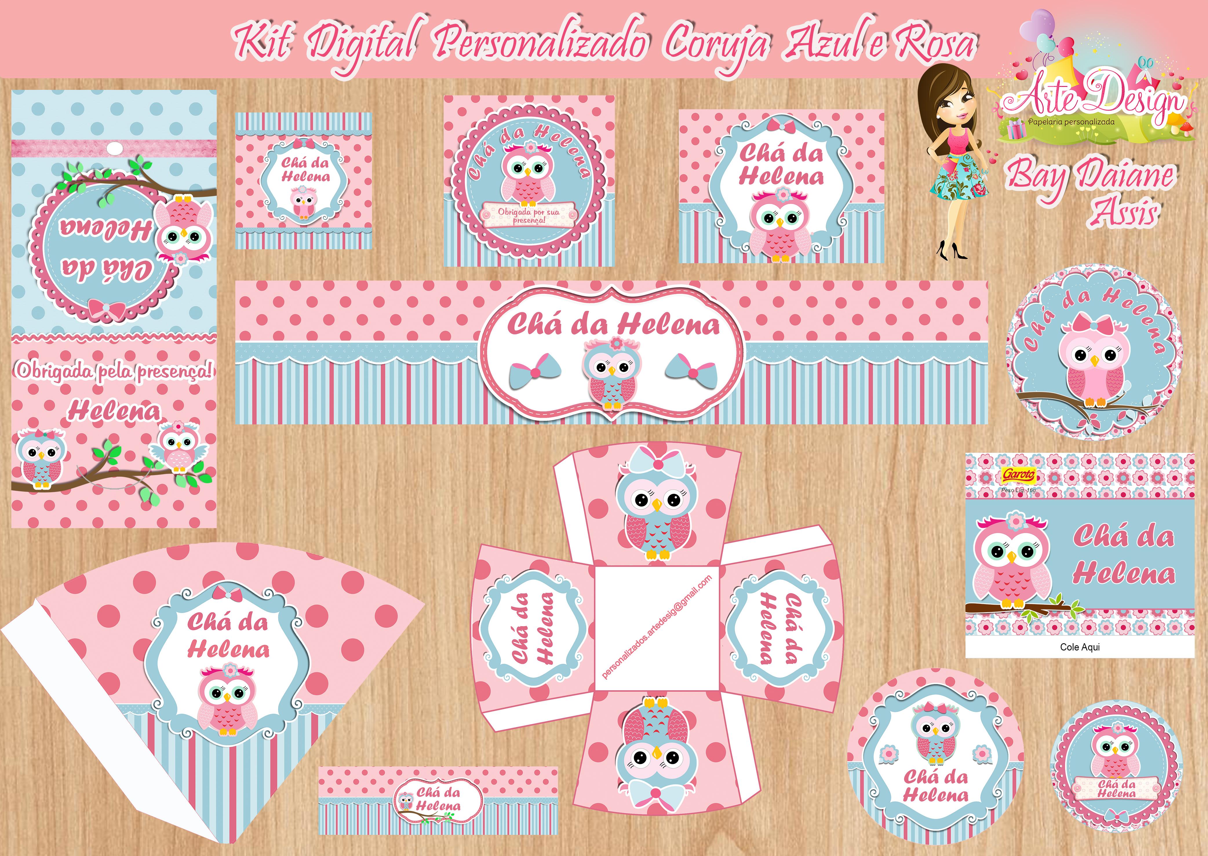 Kit digital personalizado coruja rosa arte design elo7 for Kit da 3 bay