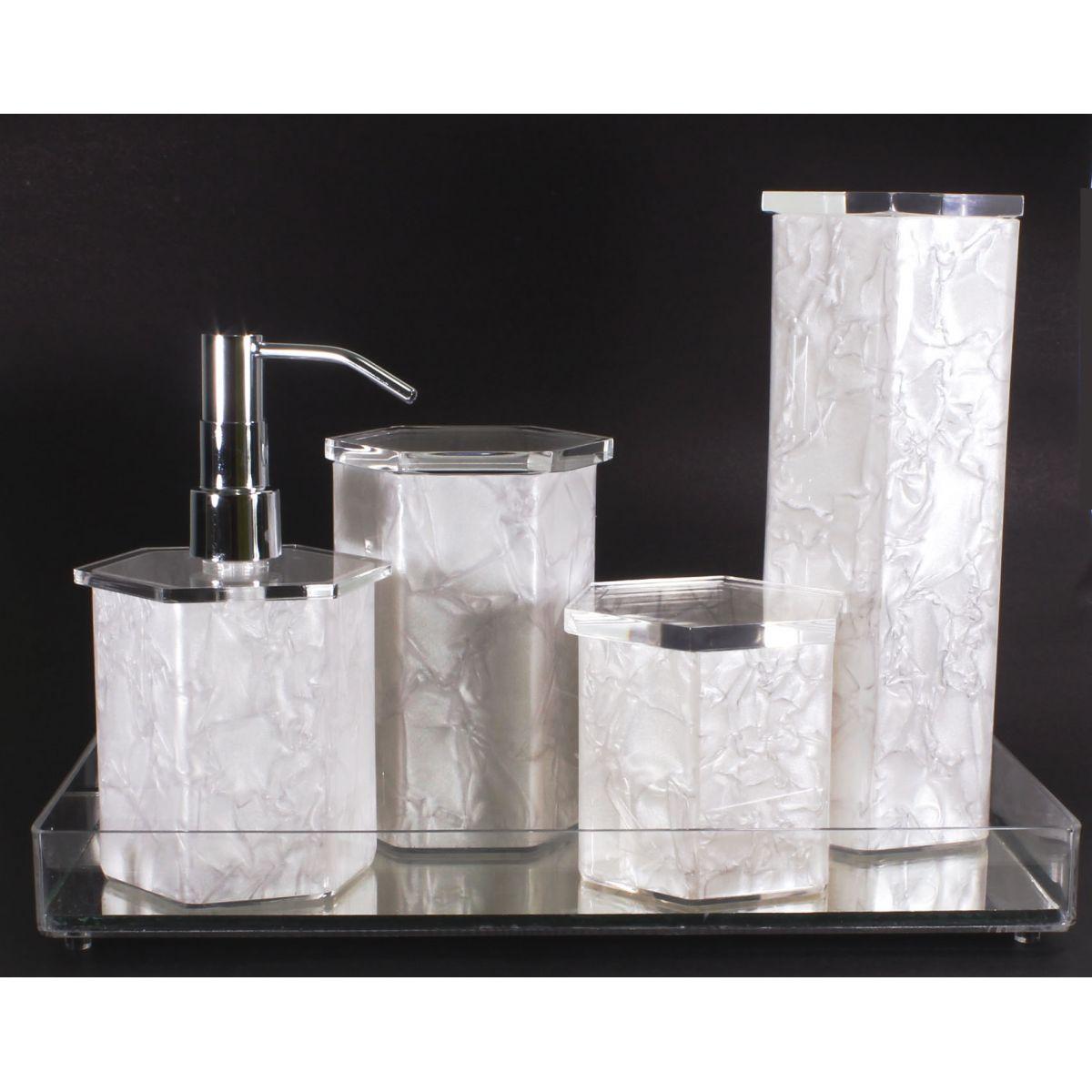 Jogo Banheiro Kit Higiene Branco Pérola  Decorar Cantinho  Elo7 -> Kit Armario De Banheiro