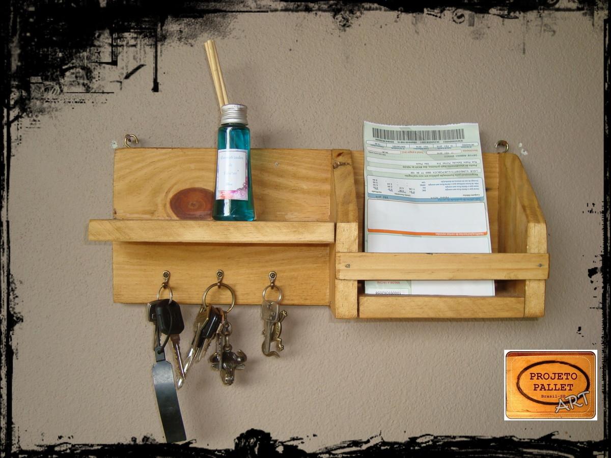 Favoritos Porta Chaves e Carta em Pallet no Elo7 | PROJETO PALLET (4466FC) XL36