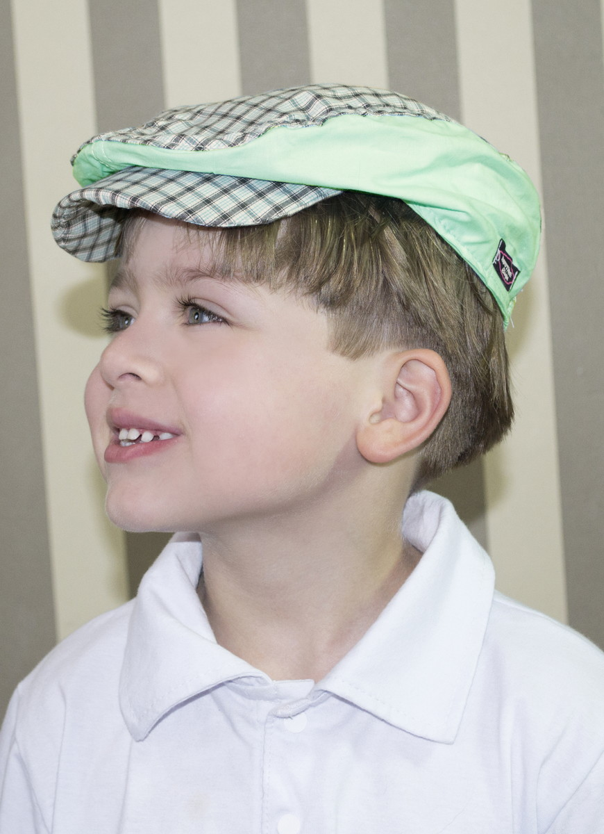 Boina Infantil Xadrez Verde Água no Elo7  d5f8c5e298b