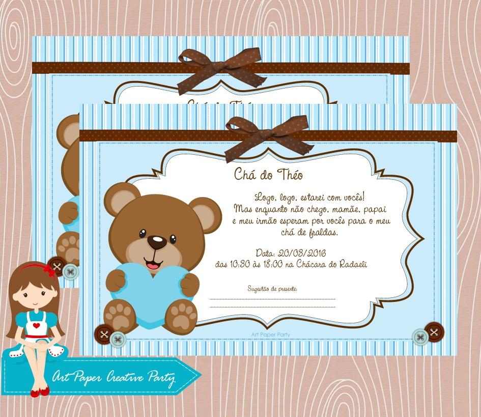 Arte Convite Cha De Bebe Ursinho Azul No Elo7 Art Paper Creative