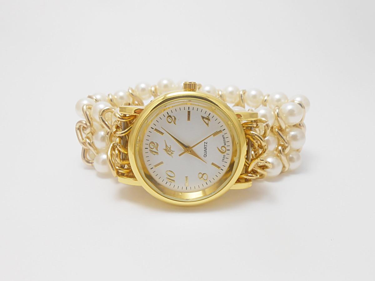 0002af38f6b Relógio Feminino Bracelete Pérolas no Elo7