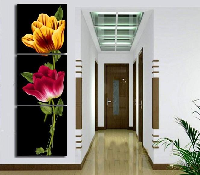 Quadro pintado flores verticais no preto no elo7 art for Lienzos para salon modernos