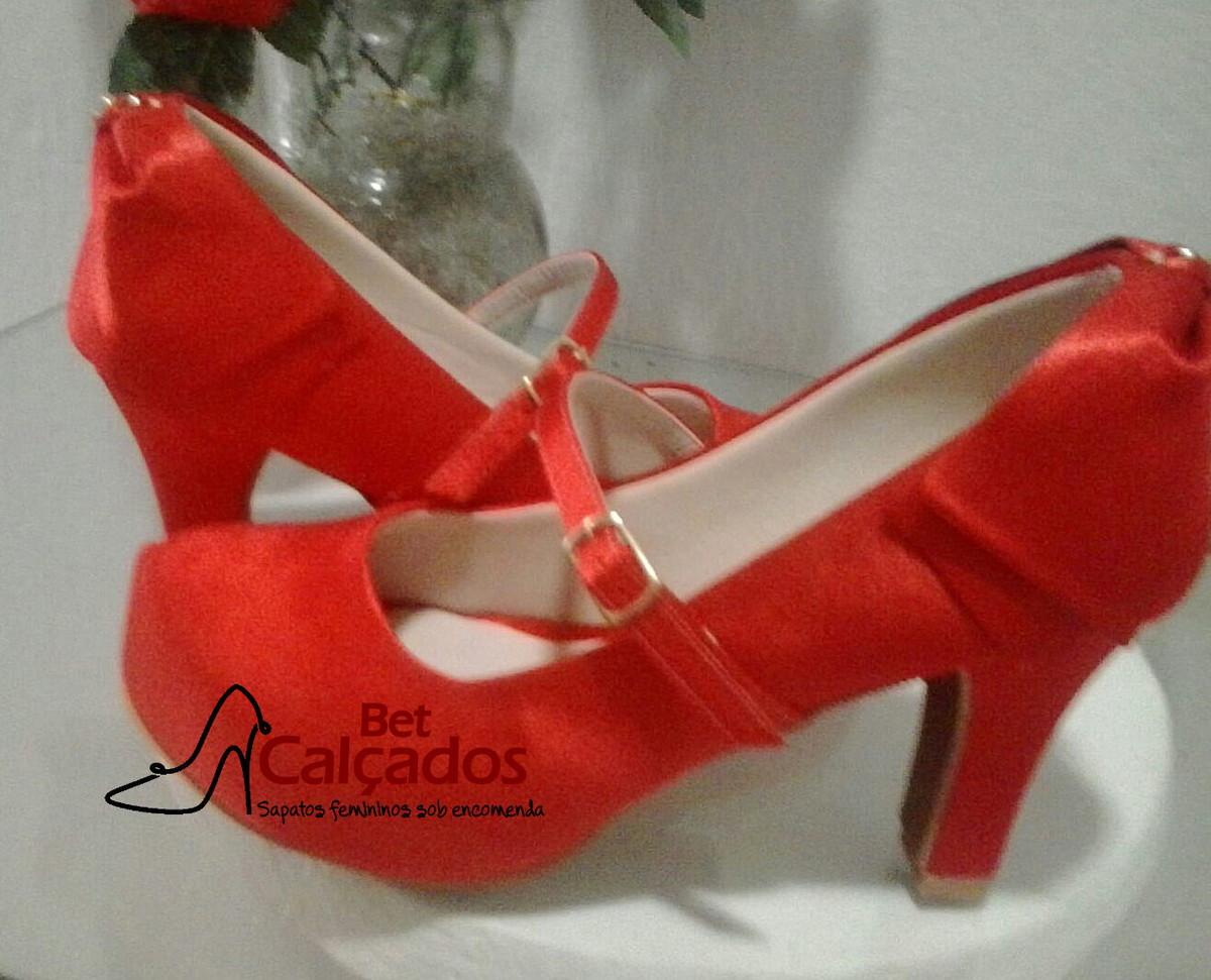 1d68cebcba Sapato vermelho salto grosso 8,5 cm no Elo7 | Bet Calçados (671405)