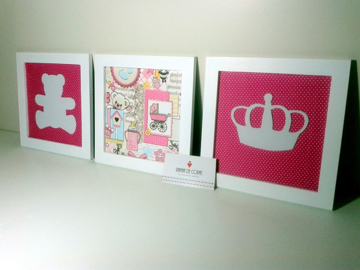 Trio de quadros MDF bebê Princesa Rainha de Copas Ateliê  ~ Trio De Quadros Para Quarto De Bebe