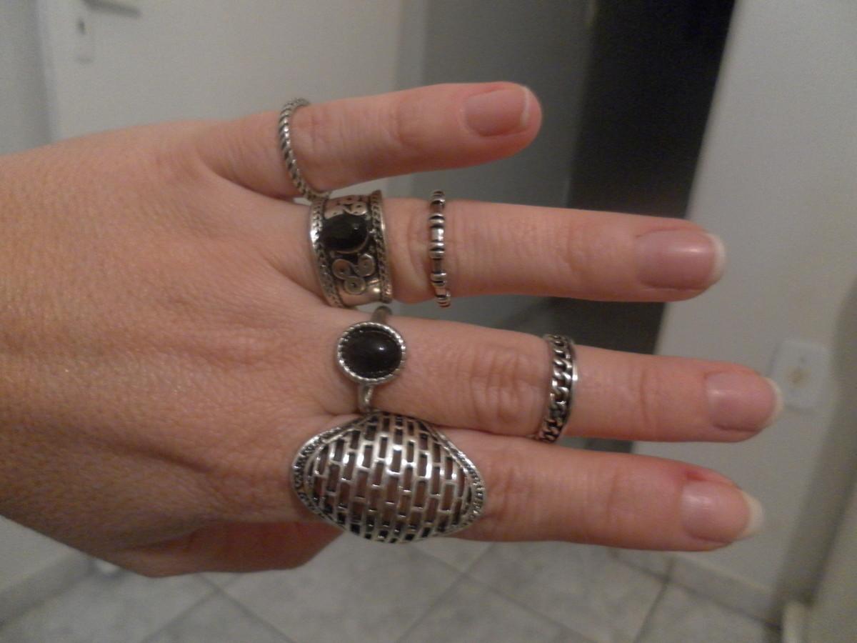 a0331fb143e8a kit anéis prata com preto. no Elo7   Karina Lages acessórios (6813F4)