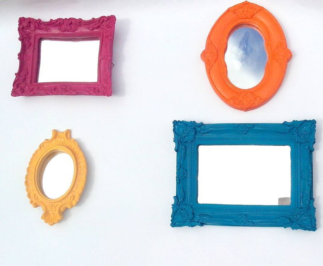 Kit Moldura Espelho Resina Colorido Lili Santana Ateli Elo7 ~ Espelho Decorado Para Quarto E Quarto Feminino Vintage