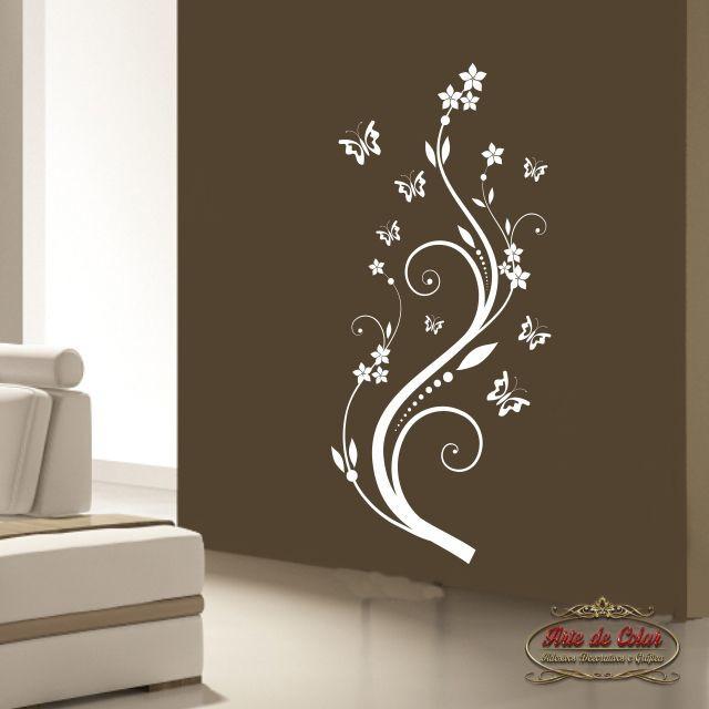 Aparador Para Sala De Estar Com Vidro ~ Adesivo de Parede Floral 02 BRANCO no Elo7 Arte de Colar Adesivos e Gráfica (68613C)