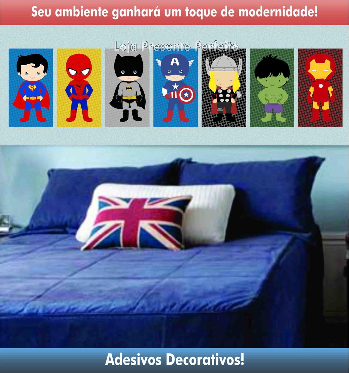 Super Kit Decorativo Herois Baby Loja Presente Perfeito Elo7 ~ Tecidos Para Parede De Quarto E Quarto Bebe Super Herois