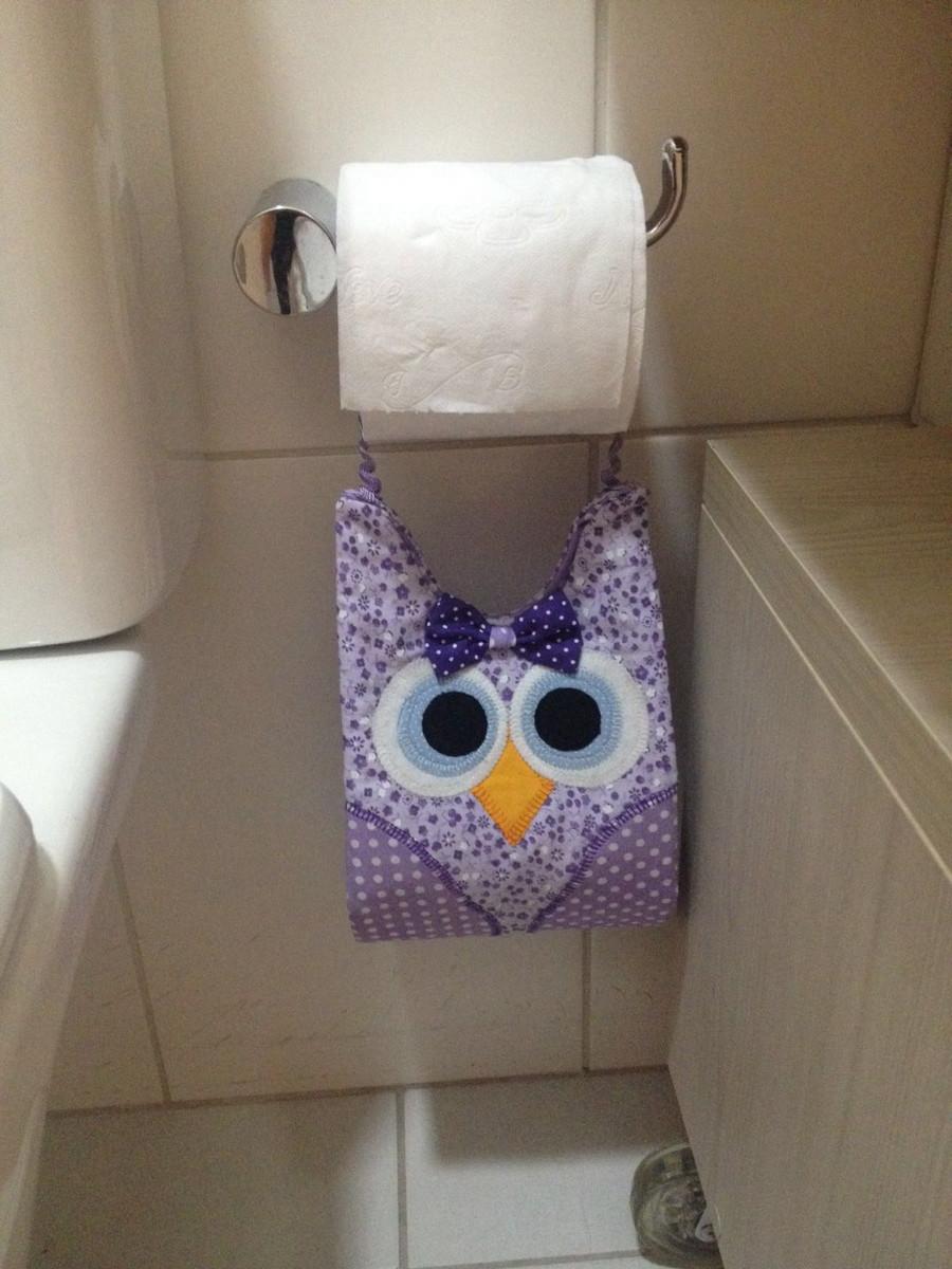 Porta rolo de papel higi nico de coruja no elo7 for Colgadores para papel higienico