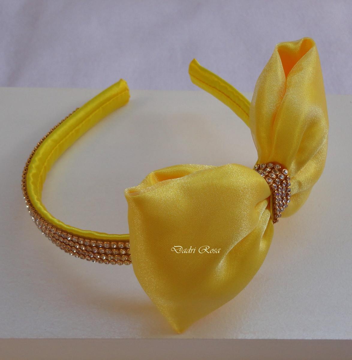 b5514e7f7 Tiara Laço Amarelo no Elo7