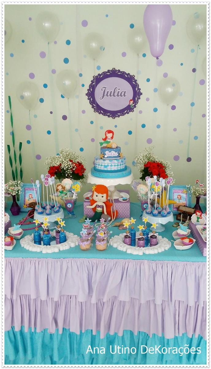 Decoraç u00e3o pequena Sereia Ariel no Elo7 Ana Utino Decor Party (696846) -> Decoração De Pequena Sereia Simples