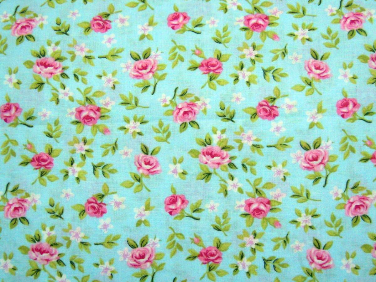 zoom tc464 tecido rosas fundo azul