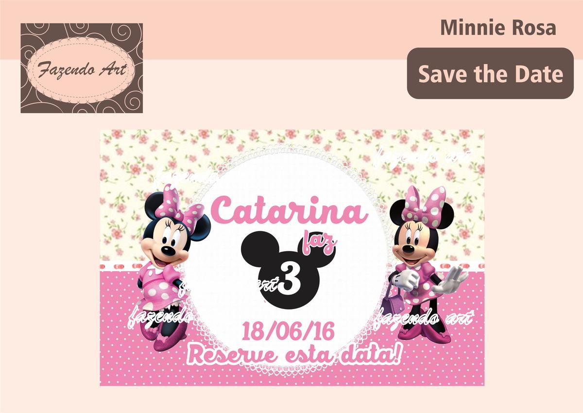 arte digital save the date minnie rosa no elo7 fazendoart 6a517e