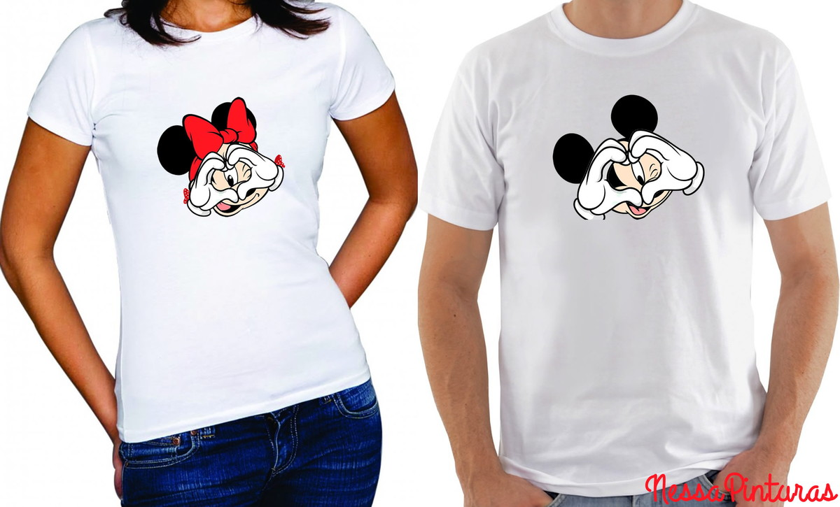 bf53c47158893 Camiseta Mickey ou Minnie LOVE no Elo7