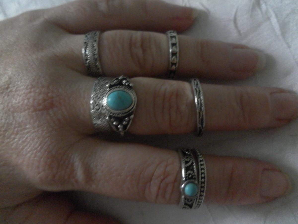 e9bdfc00318 Kit anéis prata velho com turquesa. no Elo7