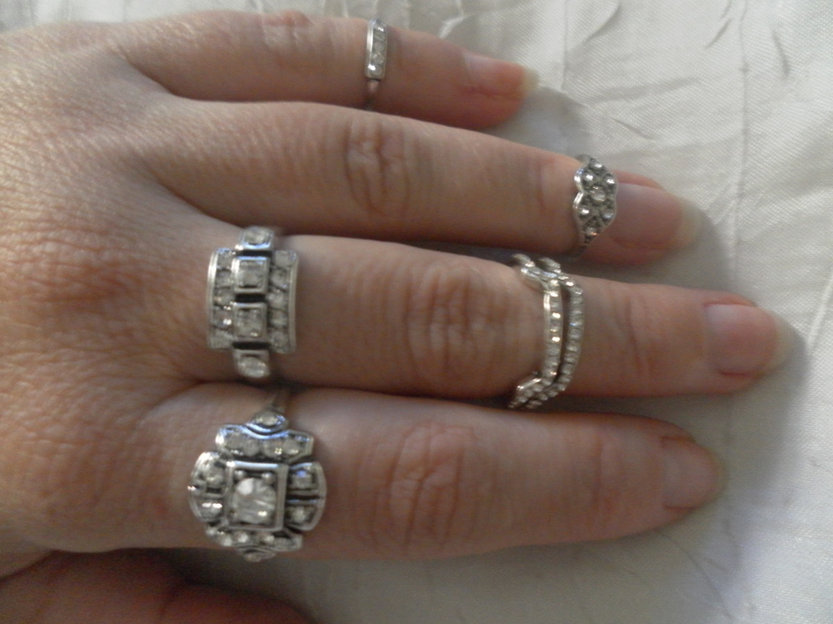 652f33f2871 Kit anéis prata velho com strass. no Elo7