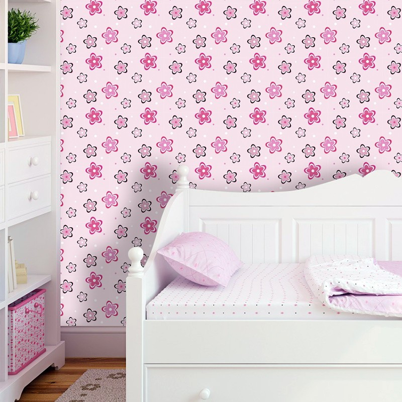Papel de parede flores rosas qcola elo7 for Papel de pared decorativo