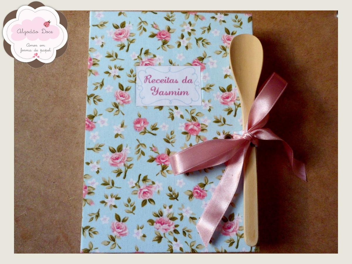 Caderno De Receitas Floral Algod O Doce Elo7 ~ Manual Da Cozinha Receitas